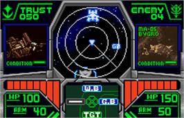 In game image of Mobile Suit Gundam: Vol. 3: A Baoa Qu on the Bandai WonderSwan Color.