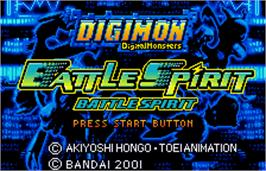 Title screen of Digimon Tamers: Battle Spirit Ver. 1.5 on the Bandai WonderSwan Color.