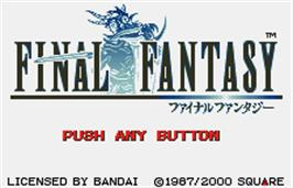 Title screen of Final Fantasy on the Bandai WonderSwan Color.