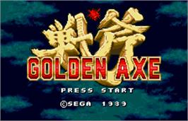 Title screen of Golden Axe on the Bandai WonderSwan Color.