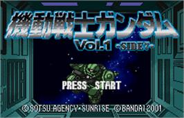 Title screen of Mobile Suit Gundam: Vol. 1 - Side 7 on the Bandai WonderSwan Color.
