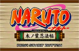 Title screen of Naruto: Konoha Ninpouchou on the Bandai WonderSwan Color.