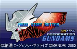 Title screen of SD Gundam G-Generation: Mono-Eye Gundams on the Bandai WonderSwan Color.