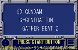 Title screen of SD Gundam G Generation: Gather Beat 2 on the Bandai WonderSwan Color.