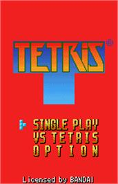 Title screen of Tetris on the Bandai WonderSwan Color.