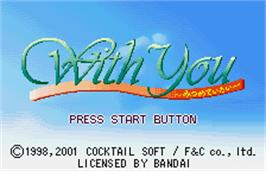 Title screen of With You: Mitsumete Itai on the Bandai WonderSwan Color.