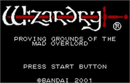 Title screen of Wizardry: Proving Grounds of the Mad Overlord on the Bandai WonderSwan Color.