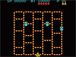 In game image of Amidar on the Casio PV-1000.