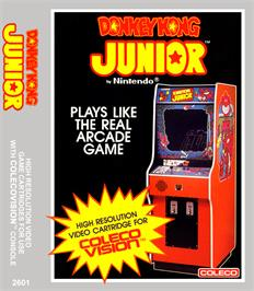Box cover for Donkey Kong Junior on the Coleco Vision.