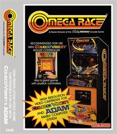 Box cover for Omega Race on the Coleco Vision.