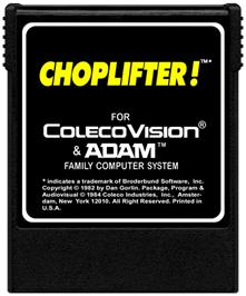 Cartridge artwork for Choplifter on the Coleco Vision.