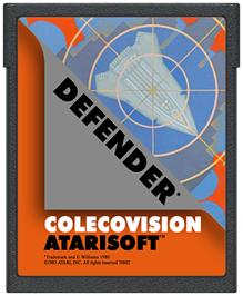 Cartridge artwork for Defender on the Coleco Vision.