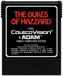 Cartridge artwork for Dukes of Hazzard on the Coleco Vision.