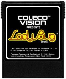 Cartridge artwork for Lady Bug on the Coleco Vision.