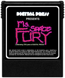 Cartridge artwork for Ms. Space Fury on the Coleco Vision.