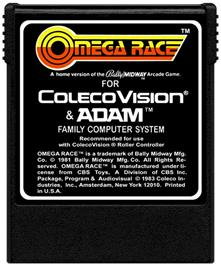 Cartridge artwork for Omega Race on the Coleco Vision.
