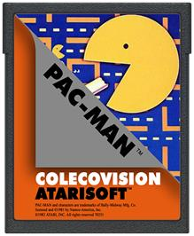 Cartridge artwork for Pac-Man on the Coleco Vision.