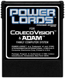 Cartridge artwork for Power Lords: Quest for Volcan on the Coleco Vision.