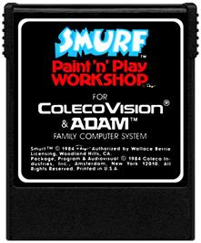 Cartridge artwork for Smurf: Paint 'n' Play Workshop on the Coleco Vision.