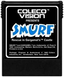 Cartridge artwork for Smurf: Rescue in Gargamel's Castle on the Coleco Vision.