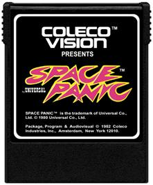 Cartridge artwork for Space Panic on the Coleco Vision.
