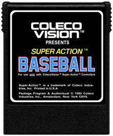 Cartridge artwork for Super Action Baseball on the Coleco Vision.