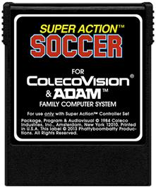 Cartridge artwork for Super Action Soccer on the Coleco Vision.