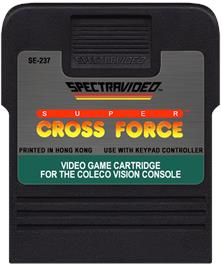 Cartridge artwork for Super Cross Force on the Coleco Vision.