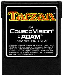 Cartridge artwork for Tarzan: From Out Of The Jungle... on the Coleco Vision.