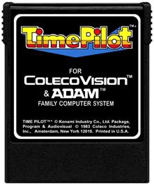 Cartridge artwork for Time Pilot on the Coleco Vision.