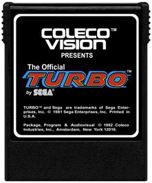 Cartridge artwork for Turbo on the Coleco Vision.