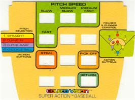 Overlay for Super Action Baseball on the Coleco Vision.