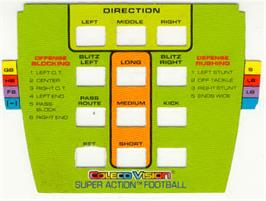 Overlay for Super Action Football on the Coleco Vision.