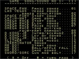 In game image of Adam's Musicbox (Demo) on the Coleco Vision.