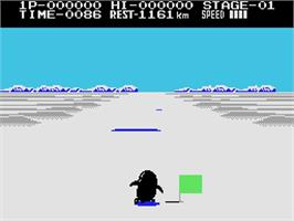 In game image of Antarctic Adventure on the Coleco Vision.