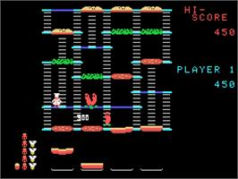 In game image of Burger Time on the Coleco Vision.