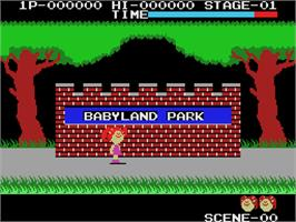 In game image of Cabbage Patch Kids Adventures in the Park on the Coleco Vision.