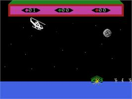 In game image of Choplifter on the Coleco Vision.