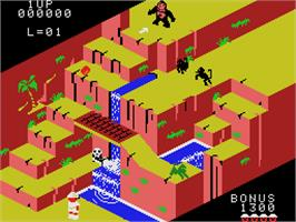 In game image of Congo Bongo on the Coleco Vision.