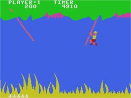 In game image of Jungle Hunt on the Coleco Vision.