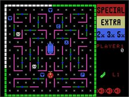 In game image of Lady Bug on the Coleco Vision.
