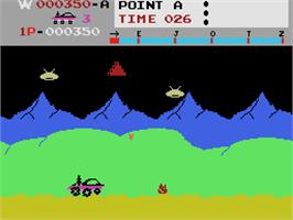 In game image of Moon Patrol on the Coleco Vision.