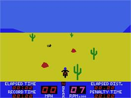 In game image of Motocross Racer on the Coleco Vision.