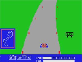 In game image of Pitstop on the Coleco Vision.