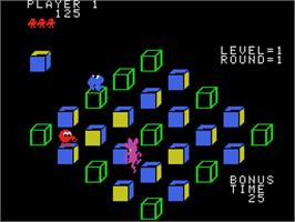 In game image of Q*bert's Qubes on the Coleco Vision.