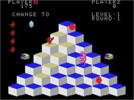 In game image of Q*bert on the Coleco Vision.