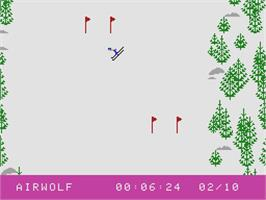 In game image of Skiing on the Coleco Vision.