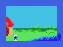 In game image of Smurf: Paint 'n' Play Workshop on the Coleco Vision.