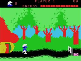 In game image of Smurf: Rescue in Gargamel's Castle on the Coleco Vision.