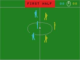 In game image of Super Action Soccer on the Coleco Vision.